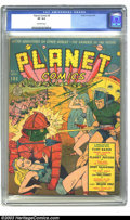 Golden Age (1938-1955):Science Fiction, Planet Comics #8 (Fiction House, 1940) CGC VF 8.0 Off-white pages.This fat Golden Age is stuffed with stories featuring the...
