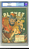 Golden Age (1938-1955):Science Fiction, Planet Comics #16 (Fiction House, 1942) CGC FN/VF 7.0 Off-white pages. Dan Zolnerowich delivers another irresistible cover f...