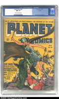 Golden Age (1938-1955):Science Fiction, Planet Comics #24 Rockford pedigree (Fiction House, 1943) CGC NM-9.2 Cream to off-white pages. Our hero Flint Baker is nowh...