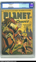 Golden Age (1938-1955):Science Fiction, Planet Comics #27 (Fiction House, 1943) CGC FN- 5.5 Cream tooff-white pages. With her zap gun set for full blast, a leggy b...