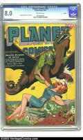 Golden Age (1938-1955):Science Fiction, Planet Comics #29 Toledo pedigree (Fiction House, 1944) CGC VF 8.0Off-white pages. A member of the green warrior-horde show...