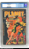 Golden Age (1938-1955):Science Fiction, Planet Comics #35 (Fiction House, 1945) CGC VF+ 8.5 Off-white towhite pages. This is the first appearance of Mysta of the M...