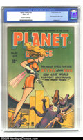 Golden Age (1938-1955):Science Fiction, Planet Comics #38 (Fiction House, 1945) CGC NM+ 9.6 Off-white towhite pages. Mysta of the Moon makes her debut this issue, ...