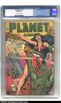 "Golden Age (1938-1955):Science Fiction, Planet Comics #51 (Fiction House, 1947) CGC VF/NM 9.0 Off-white towhite pages. Hunt Bowman is back in town, battling the ""M..."