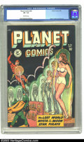 Golden Age (1938-1955):Science Fiction, Planet Comics #56 (Fiction House, 1948) CGC VF- 7.5 Off-whitepages. Arguably the best interior artwork in the long-running ...