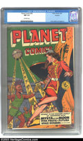 Golden Age (1938-1955):Science Fiction, Planet Comics #59 Rockford copy (Fiction House, 1949) CGC NM 9.4Off-white pages. Let us voyage to the wonder-world of tomor...