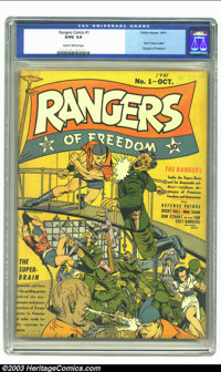Rangers Comics #1 (Fiction House, 1941) CGC GD/VG 3.0 Slightly brittle pages. One of Fiction House's original Big Six ti...