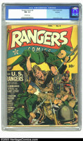 Golden Age (1938-1955):War, Rangers Comics #9 Rockford pedigree (Fiction House, 1943) CGC NM-9.2 Off-white pages. The Fiction House formula for its com...
