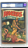 Golden Age (1938-1955):War, Rangers Comics #10 (Fiction House, 1943) CGC VF- 7.5 Cream tooff-white pages. This incredible cover shows why Fiction House...