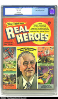 Golden Age (1938-1955):Non-Fiction, Real Heroes Comics #1 Mile High pedigree (Parents' Magazine Institute, 1941) CGC NM 9.4 Off-white pages. This key issue feat...