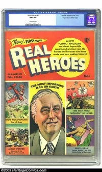 Real Heroes Comics #1 Mile High pedigree (Parents' Magazine Institute, 1941) CGC NM 9.4 Off-white pages. This key premie...