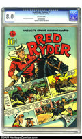 Golden Age (1938-1955):Western, Red Ryder Comics #1 (Dell, 1940) CGC VF 8.0 Off-white pages. Afterseveral failed business ventures, Fred Harman hit gold in...