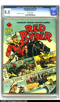 Red Ryder Comics #1 (Dell, 1940) CGC VF 8.0 Off-white pages. After several failed business ventures, Fred Harman hit gol...