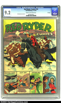 Red Ryder Comics #16 File Copy (Dell, 1943) CGC NM- 9.2 Cream to off-white pages. Red Ryder and Little Beaver have to st...