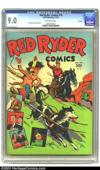 Red Ryder Comics #18 File Copy (Dell, 1944) CGC VF/NM 9.0 Off-white pages. Fred Harman does double-duty with cover and s...
