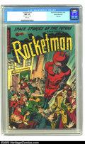 Golden Age (1938-1955):Science Fiction, Rocketman #1 White Mountain pedigree (Farrell, 1952) CGC NM 9.4White pages. Ajax-Farrell books can be among the hardest boo...