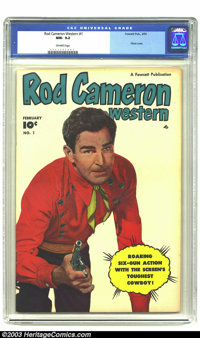 Rod Cameron Western #1 (Fawcett, 1950) CGC NM- 9.2 Off-white pages. Rod Cameron, his horse War Paint, and Sam the Sherif...