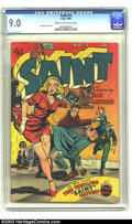 Golden Age (1938-1955):Crime, Saint #3 (Avon, 1948) CGC VF/NM 9.0 Cream to off-white pages. What could be more thrilling than this cover? Its dynamic layo...