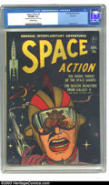 Golden Age (1938-1955):Science Fiction, Space Action #2 River City pedigree (Ace, 1952) CGC VF/NM 9.0Off-white pages. This black cover comic has one of the most in...