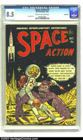 Golden Age (1938-1955):Science Fiction, Space Action #3 Bethlehem pedigree (Ace, 1952) CGC VF+ 8.5 Cream tooff-white pages. A goofy looking alien prepares to start...