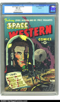 Golden Age (1938-1955):Science Fiction, Space Western #43 Spokane pedigree (Charlton, 1953) CGC NM- 9.2Off-white to white pages. Spurs Jackson & His Space Vigilant...