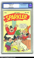 Golden Age (1938-1955):Cartoon Character, Sparkler Comics #45 Mile High pedigree (United Features Syndicate, 1945) CGC NM/MT 9.8 Off-white to white pages. In the mid-...