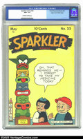 Golden Age (1938-1955):Cartoon Character, Sparkler Comics #55 Mile High pedigree (United Features Syndicate,1946) CGC NM+ 9.6 Off-white to white pages. Nancy and Slu...