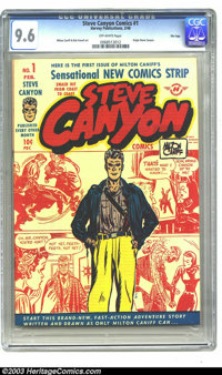 Steve Canyon #1 File Copy (Field Enterprises, Inc., 1948) CGC NM+ 9.6 Off-white pages. Milton Caniff's hard-hitting, har...