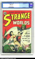 Golden Age (1938-1955):Science Fiction, Strange Worlds #1 (Avon, 1950) CGC NM- 9.2 Off-white pages. Haveyou wondered if all damsels in distress absolutely must...