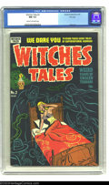 "Golden Age (1938-1955):Horror, Witches Tales #2 File Copy (Harvey, 1951) CGC NM 9.4 Cream tooff-white pages. A negligee ""headlight"" cover coupled with a h..."