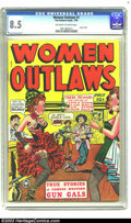 """Golden Age (1938-1955):Western, Women Outlaws #1 (Fox, 1948) CGC VF+ 8.5 Off-white to white pages. With negligee panels, a trigger-happy """"headlight"""" cover, ..."""