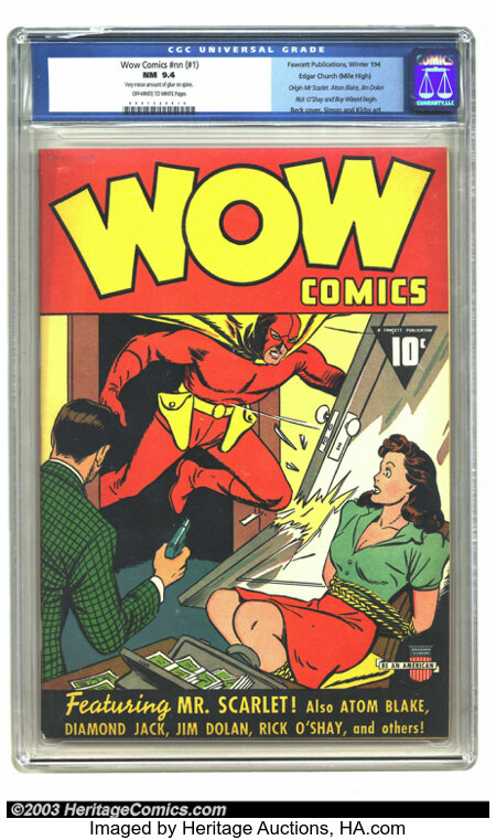 Wow Comics #nn (#1) Mile High pedigree (Fawcett, 1940) CGC NM 9.4 Off-white to white pages. Wow is the word here! Expect jaw...