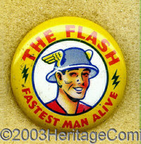 The Flash Giveaway Pinback (DC, 1942). Once you complete that Flash run you've been working on for decades, there's one...