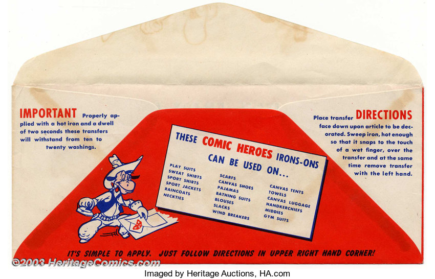 Comic Heroes Iron-Ons (Fawcett, 1940s)  If you were a proud