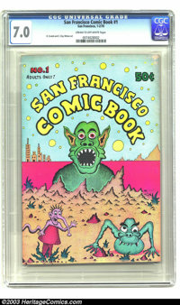 San Francisco Comic Book #1 - First Printing (Print Mint, 1970) CGC FN/VF 7.0 Cream to off-white pages. The first underg...