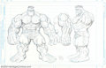 Original Comic Art:Paintings, Arthur Adams - Original Art, Hulk Model Sheet (Marvel, 1997).Created as a model sheet for a proposed toy design, this is Ar...