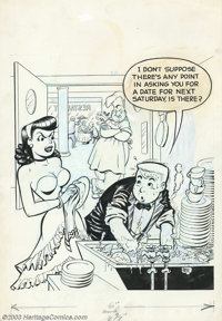 """Dave Berg - Original Cover Art for Meet Merton #1 (Toby, 1953). This cover features a great """"headlight"""" image..."""