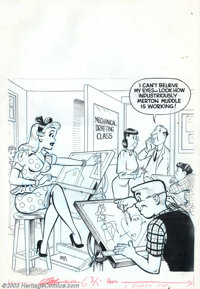 Dave Berg - Original Cover Art for Meet Merton #2 (Toby, 1954). Dave Berg, once again, delivers a nicely rendered cover...