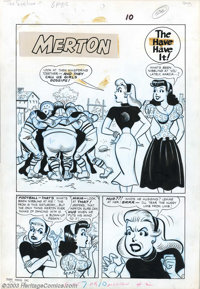 """Dave Berg - Original Art for Meet Merton #2, Complete 6-page Story, """"The Eyes Have it!"""" (Toby, 1954). This is..."""
