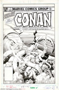 Original Comic Art:Covers, John Buscema - Original Cover Art for Conan the Barbarian Annual #7(Marvel, 1982). With his last ounce of energy and the la...