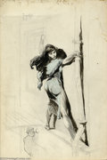Original Comic Art:Sketches, Frank Frazetta - Original Sketch, Woman Escaping (undated). A beautiful unfinished drawing of a woman precariously perched o...
