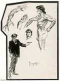"""Original Comic Art:Sketches, Frank Frazetta - Original Art Sketch """"Shootist"""" (Undated). The master lays out a few character studies on this sketchbook pa..."""