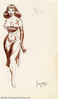 "Frank Frazetta - Original Art Sketch ""Femme Fatale"" (Undated). When it comes to voluptuous women absolutely no..."
