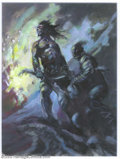 """Original Comic Art:Paintings, Frank Frazetta - Original Preliminary Painting for """"The Flesh Eaters"""" (undated). A dark and brooding portrait of two warrior..."""