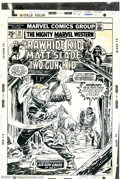 Original Comic Art:Covers, Larry Lieber - Original Cover Art for Mighty Marvel Western #36(Marvel, 1974). Rawhide takes a shot he dare not miss on thi...