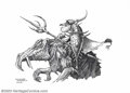"Original Comic Art:Sketches, Rodney Matthews - Original Illustration, ""Mounted Warrior with Trident"" (2003). One of the world's leading fantasy illustrat..."