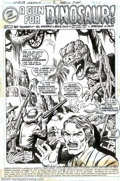 Original Comic Art:Splash Pages, Val Mayerik and Ernie Chua (Chan) - Original Art for Worlds Unknown#2, page 1 (Marvel, 1973). A testy Tyrannosaurus teases ...