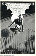 Original Comic Art:Covers, Tom Yeates - Original Cover Art for Aztec Ace #15 (Eclipse, 1985).A dark night in Hollywood, a clandestine leap over an iro...