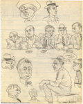 """Original Comic Art:Sketches, Robert Crumb - Original Sketches, """"Rooftop"""" (undated). Known for doing trippy cityscapes, Crumb draws himself into this piec..."""