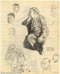 Original Comic Art:Sketches, Robert Crumb - Original Sketches, Charles Laughton (1962). This page consists of another drawing by Robert Crumb copied from...